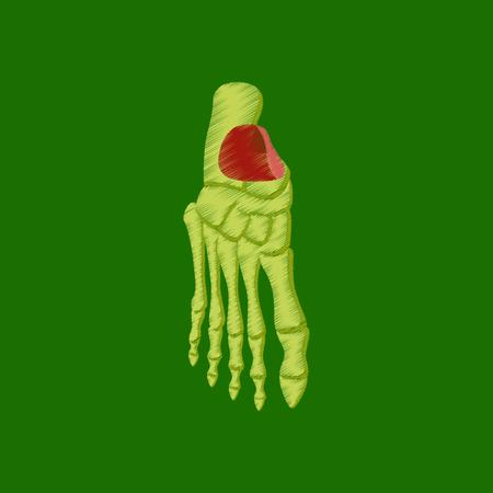 flat shading style icon foot skeleton