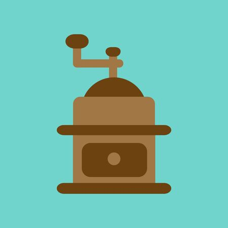 grinder: flat icon on background coffee mill grinder