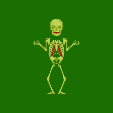 flat shading style icon human skeleton Illustration