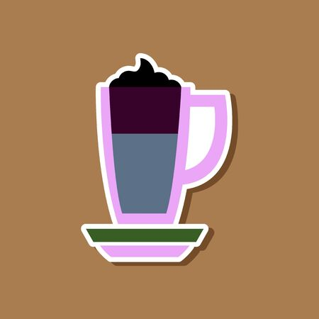 paper sticker on stylish background coffee cup of latte