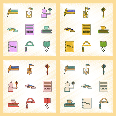 assembly flat shading style icon Ukrainian school lessons Illustration