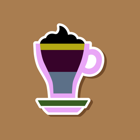 paper sticker on stylish background cup coffee mocha