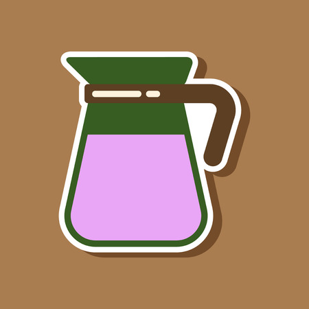 paper sticker on stylish background coffee kettle