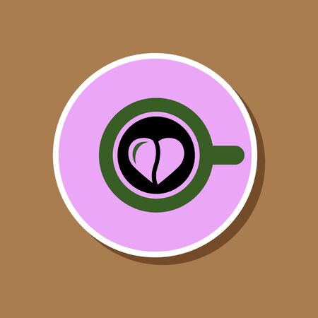 paper sticker on stylish background Cup coffee Heart