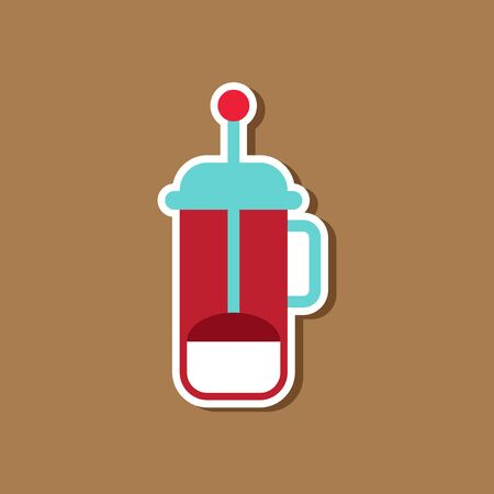 paper sticker on stylish background offee maker