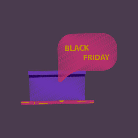 surprise box: flat shading style icon gift box Black Friday surprise thinking cloud