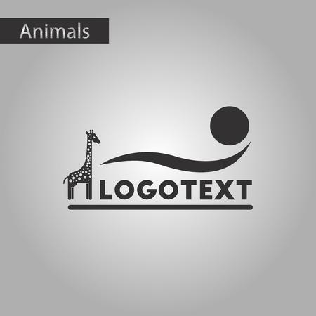 Black and white style icon giraffe logo