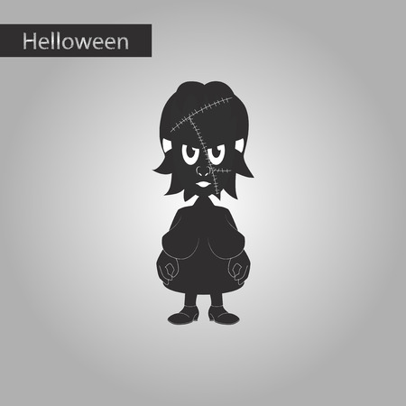 agressive: Black and white style icon of zombie woman
