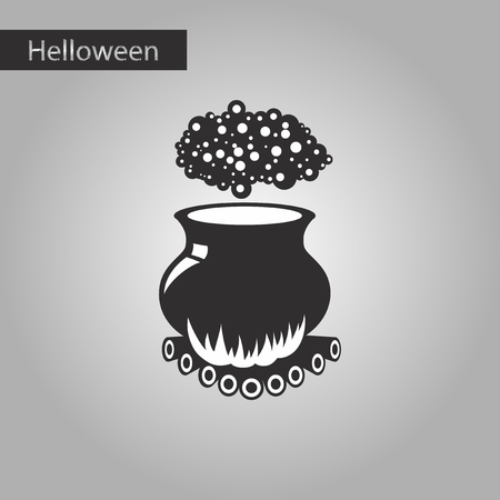 boiler: Black and white style icon of potion cauldron