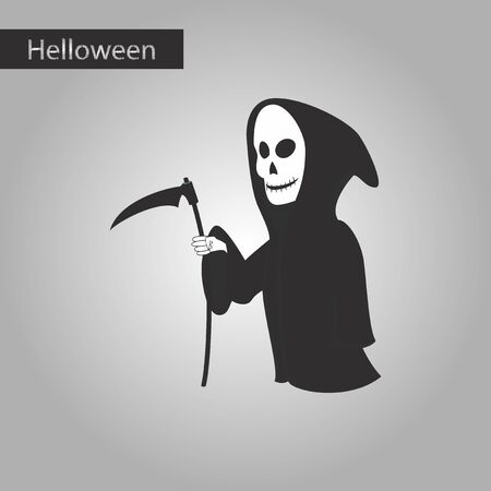 doom: black and white style icon of halloween death scythe