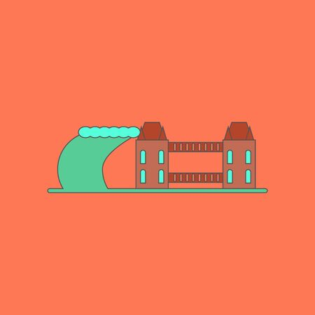 flat icon stylish background tsunami city