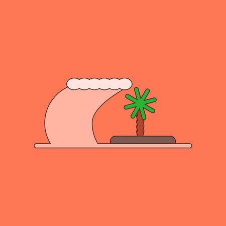 flat icon on background tsunami Island