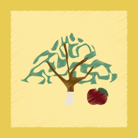 tannins: flat shading style Illustrations of plant Malus Stock Photo