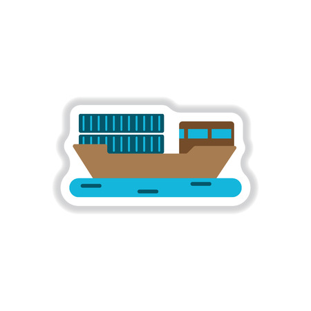 supertanker: paper sticker on white background Ship with containers