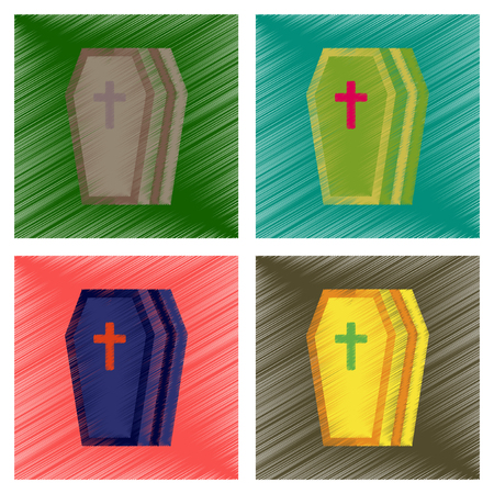 assembly flat shading style icons halloween coffin