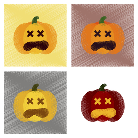 assembly flat shading style icons halloween pumpkin