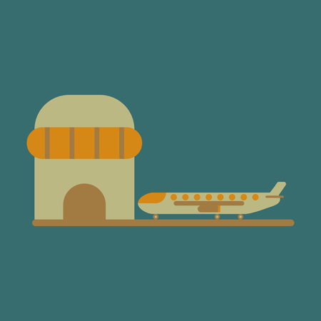 Icon in flat design Plane at airport