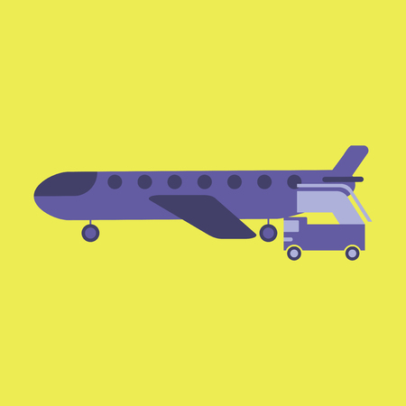 Icon in flat design for airport airplane gangway Illustration