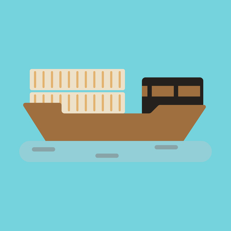 supertanker: Icon in flat design Ship with containers Illustration