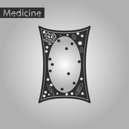 black and white style icon of plant cell Illustration