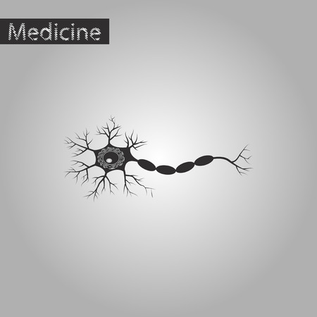 black and white style icon of neuron Illustration