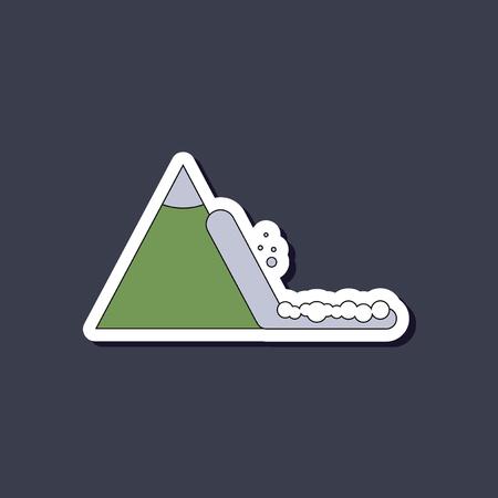 paper sticker on stylish background snow avalanche