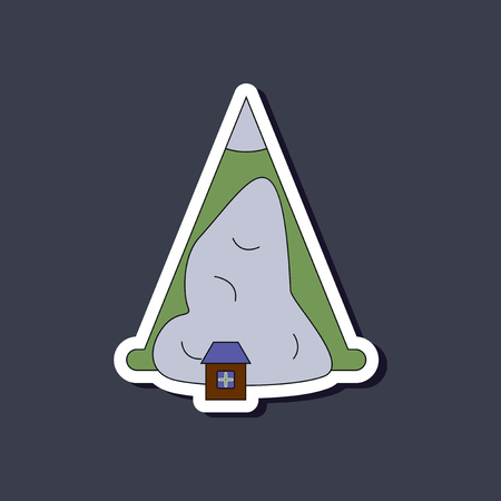 mountaineering: paper sticker on stylish background snow avalanche house