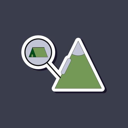 paper sticker on stylish background tent tourists snow avalanche Illustration