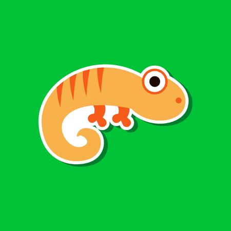 paper sticker on stylish background lizard reptile