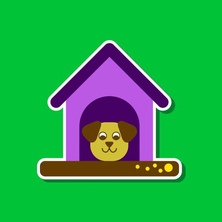 doghouse: paper sticker on stylish background dog in booth