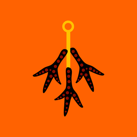 flat icon on background halloween chicken feet Illustration