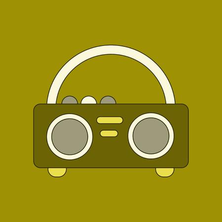 cassette tape: flat icon on background tape recorder Illustration