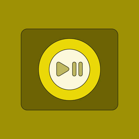 portable audio: flat icon on background music player