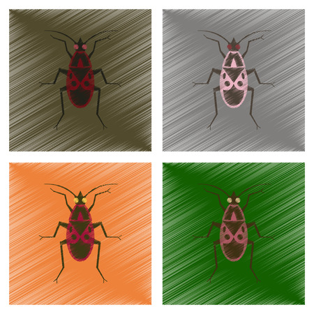 assembly flat shading style illustration soldier bug Illustration