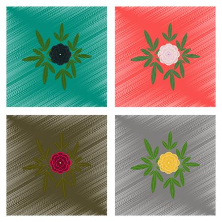 botan: assembly flat shading style illustration flower paeonia