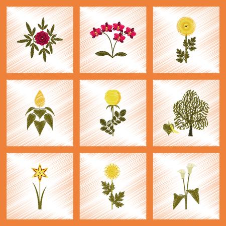 botan: assembly flat shading style illustration plant flower paeonia chrysanthemum orhidaceae rosa calla aster narcissus linden