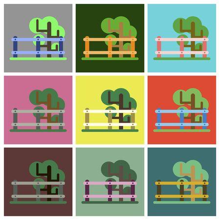 Vector illustration of flat icons set Fenced tree Illustration