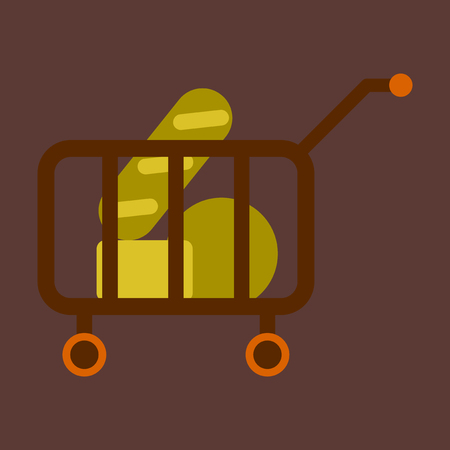 Vector illustration of flat icon shop cart with food