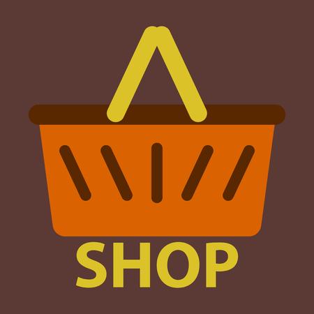Vector illustration of flat icon basket shop