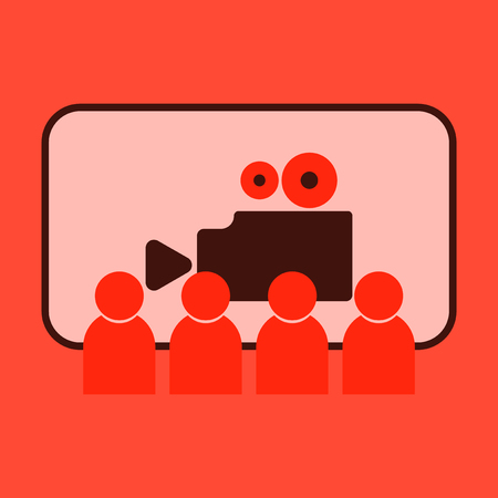 Vector illustration of flat icon People in cinema