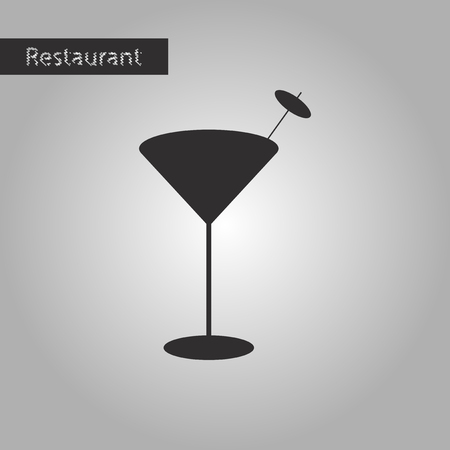 black and white style icon Martini glass Illustration