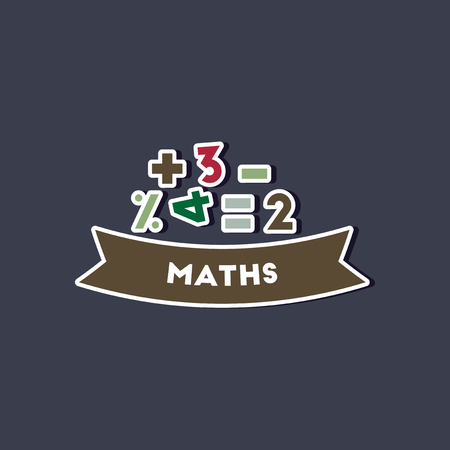 paper sticker on stylish background math lesson