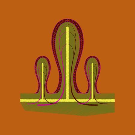 villi: flat shading style icon intestinal villi Illustration