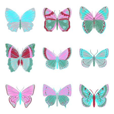 chitin: set of flat shading style icon butterfly