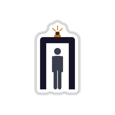 paper sticker on white background airport people scanner detector