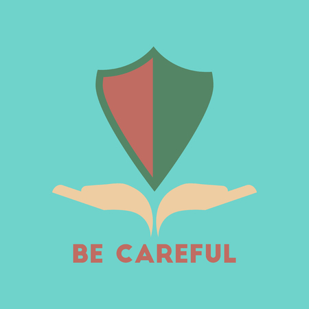flat icon on stylish background be careful hand shield Illustration