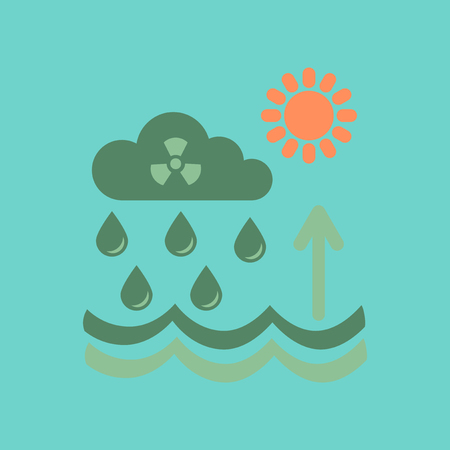 flat icon on stylish background Radioactive cloud and rain Illustration