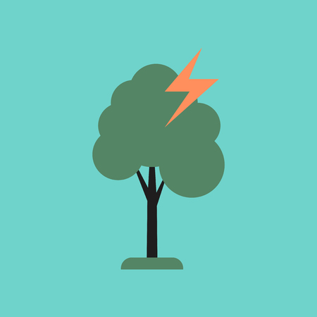 flat icon on stylish background lightning tree Illustration