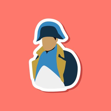 napoleon bonaparte: paper sticker on stylish background Napoleon