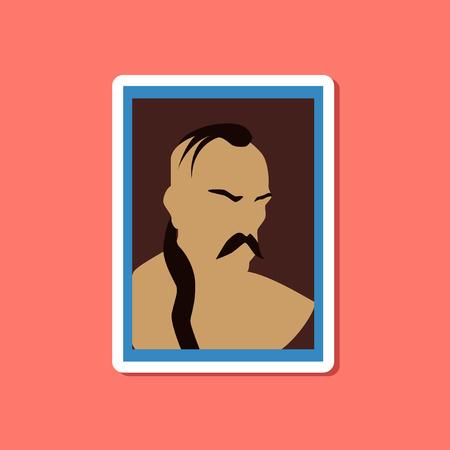 cossack: paper sticker on stylish background of Ukrainian Cossack